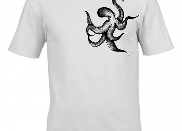 Heptopus Illustration- Breast Print- White T-Shirt