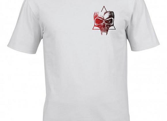 Masonic Skull- Dualtone Breast Print- White T-Shirt