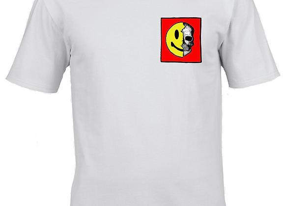 Smile- Tri Colour Ink- White T-Shirt