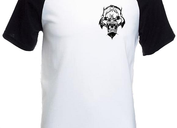 Beast Illustration- Breast Print- Raglan White T-Shirt