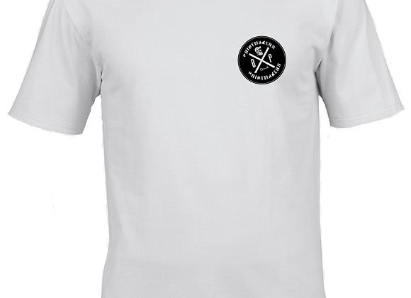 Prntmkr Logo- Breast Print- White T-Shirt