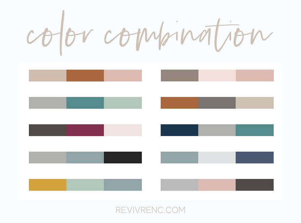 Color combination chart by REVIVRE.COM