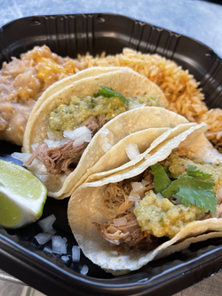 Pork Carnitas Tacos with rice and beans