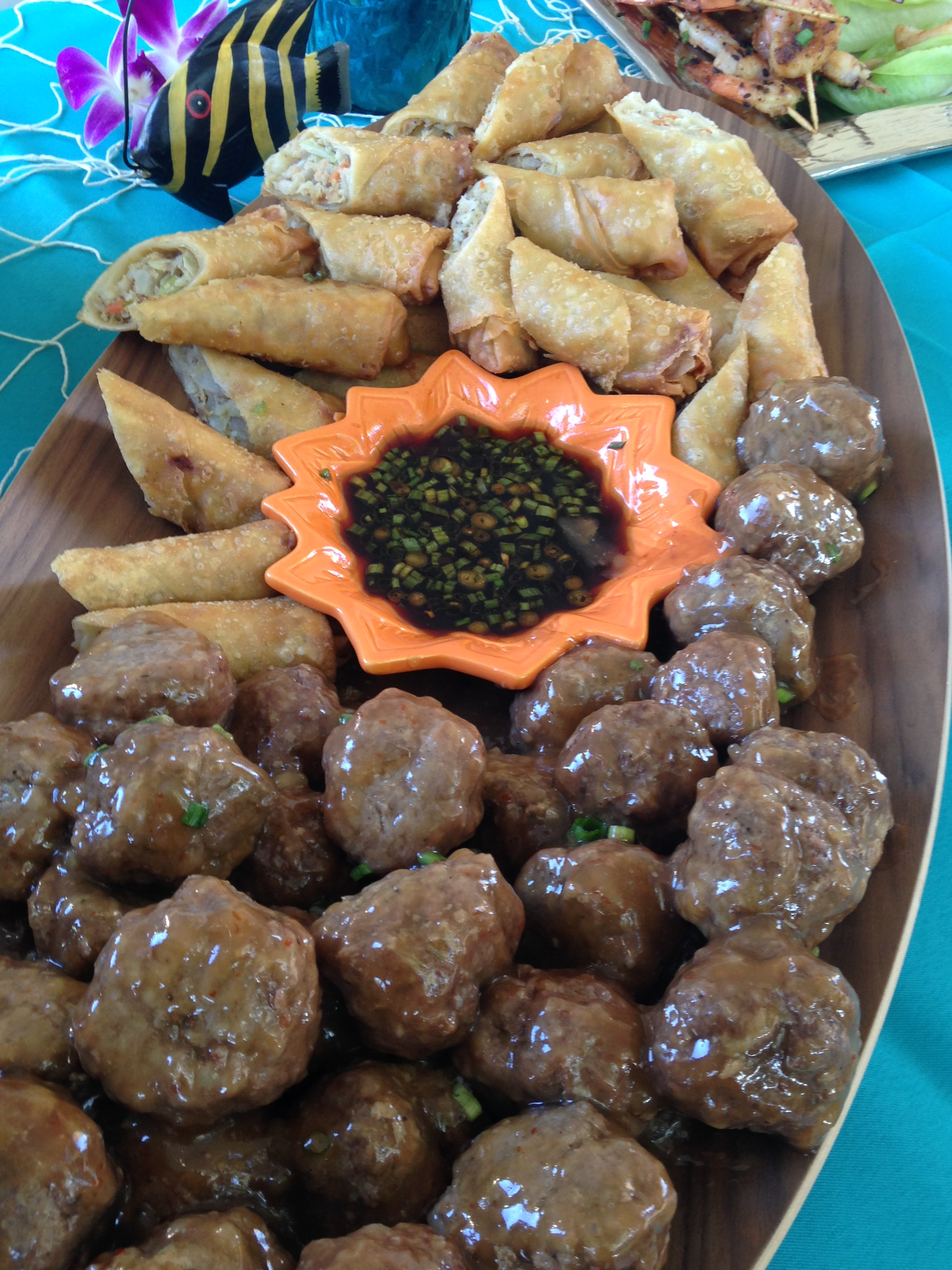 Guava sauced meatballs, and egg roll