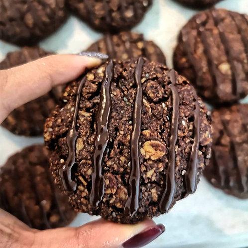 Vegan cacao oatmeal chia cookies