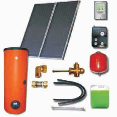 2 x EM1v2.0V plakanie kolektori ar solāro boileri un pieslēguma elementiem