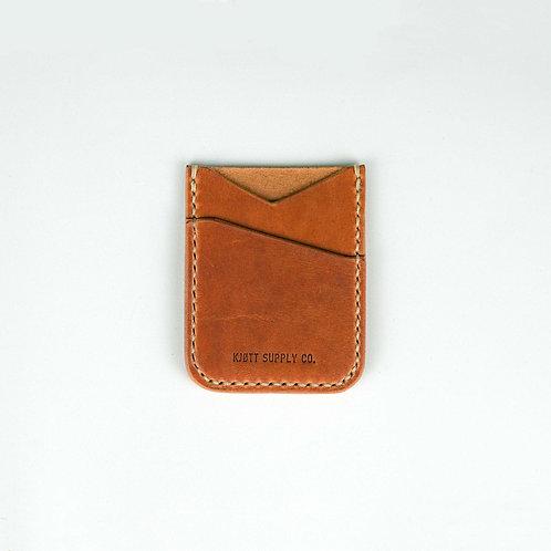005 - Vertical Minimalist Card Holder in Horween Dublin Natural - Long logo