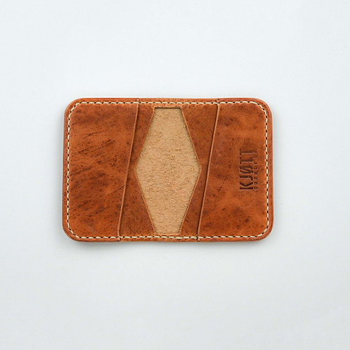 021 - 4 Pocket Bifold in Horween Dublin Natural - Stacked logo