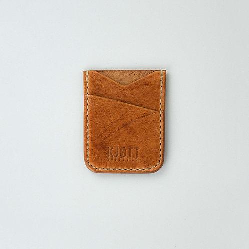 005 - Vertical Minimalist Card Holder in Horween Natural - Stacked logo