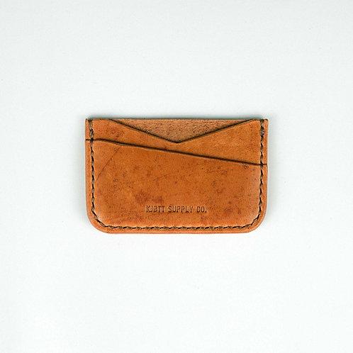 008 - Horizontal Minimalist Card Holder in Horween Dublin Natural - Long logo