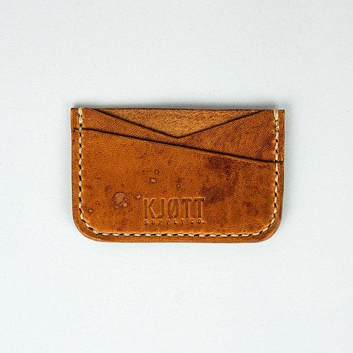 008 - Horizontal Minimalist Card Holder in Horween Dublin Natural - Stacked logo
