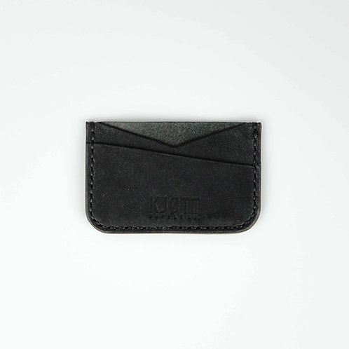 008 - Horizontal Minimalist Card Holder in Pueblo Nero - Stacked logo