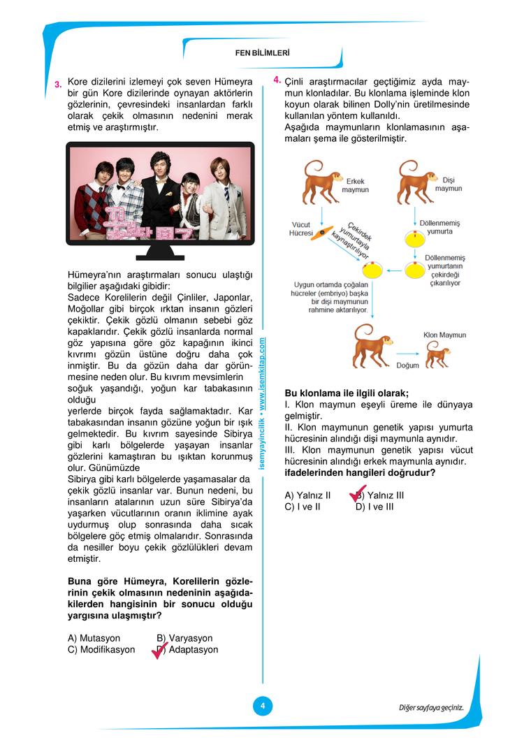 İsem Yayıncılık 8.sınıf Fen Bilimleri Ör