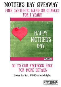 Free, Oil Changes, Contest, Mother's Day, Longwood FL, Winter Springs FL, Cassellberry FL, Sanford FL