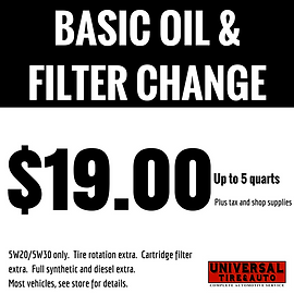$19 Basic Oil Change & Filter, Up to 5 quarts. Universal Tire & Auto, Longwood, Florida
