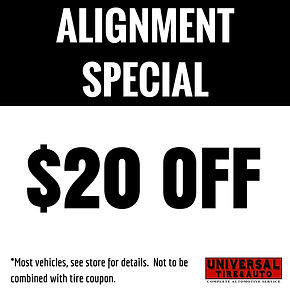 $20 Off Alignment coupon | Universal Tire & Auto | Longwood, Florida