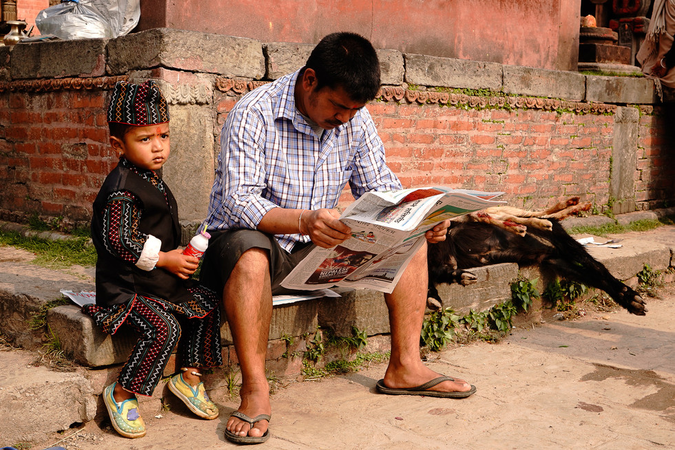 Reading peaceful the newspaper