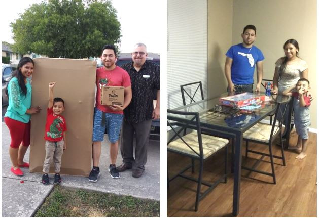 Delmy, Angel & Ronal receiving the gift of a new IKEA table & chairs for their first apartment in the US!