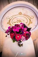 Purple, fuschia and plum bridal bouquet gold chair decal on white louis pop chair