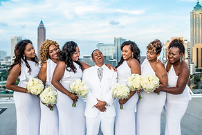 All white same sex rooftop wedding in Atlanta, GA Ventanas