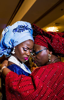 Yoruba Nigeria wedding bride with mom
