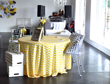 Yellow gray and chevron baby shower The B Loft