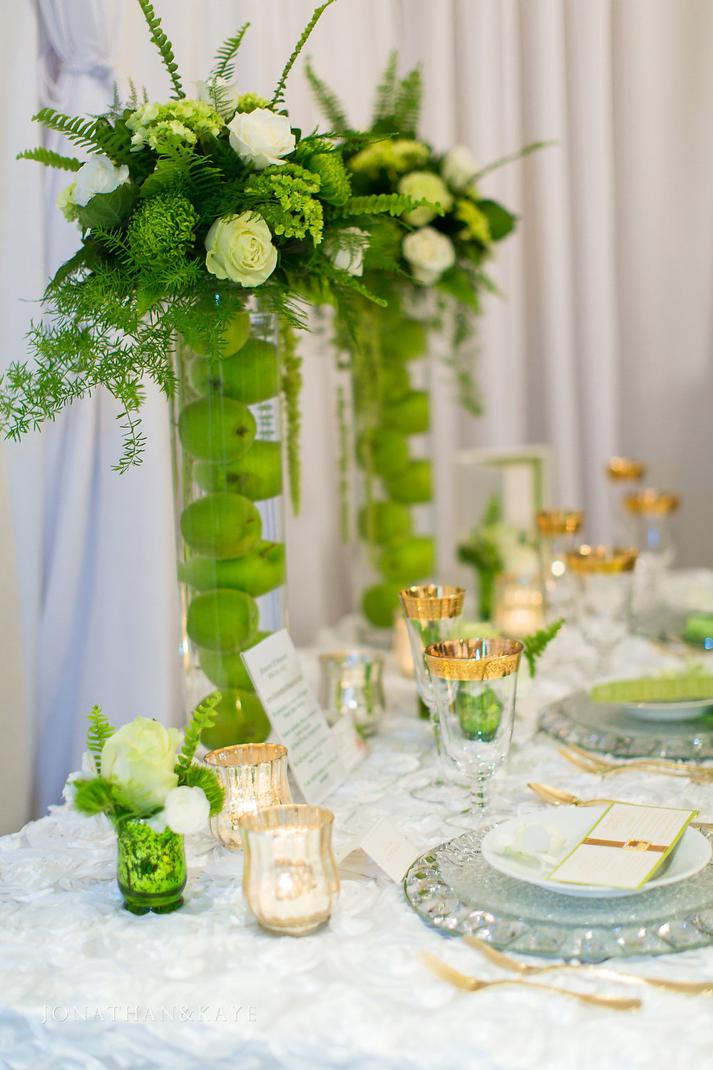 modern green gold and white wedding reception