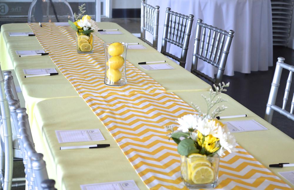 Chevron gray yellow and white baby shower linen lemons