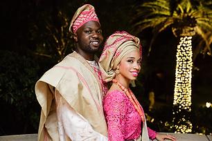 Pink and gold nigerian traditional attire yoruba wedding malibu, CA