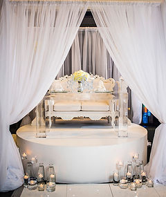 All white wedding sweetheat table design Ventanas Wedding Atlanta