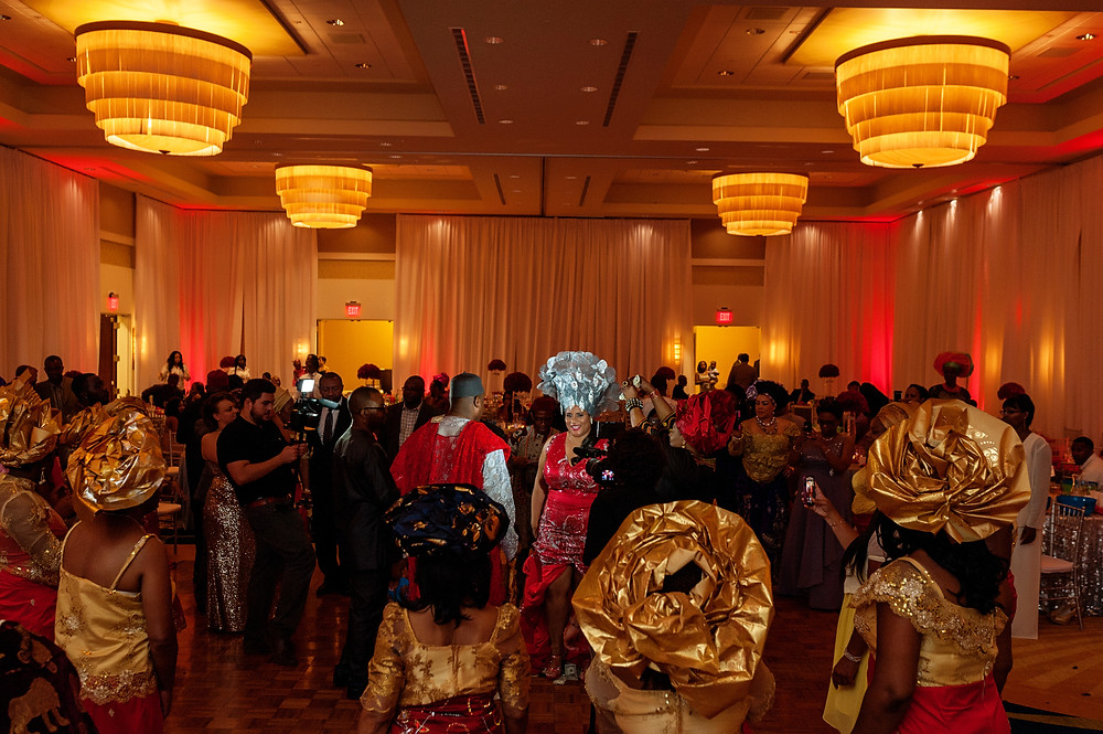 red and silver Igbo wedding Atlanta, GA