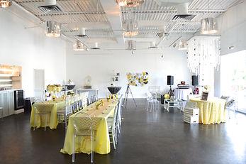 Yellow gray and chevron baby shower The B Loft