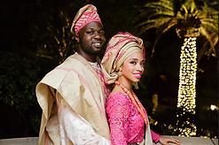 Fuchsia and gold yoruba traditional attire