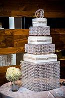 White and silver bling wedding cakt in Atlanta, GA at Ventanas