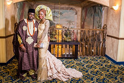 Brown and gold yoruba traditional wedding attire