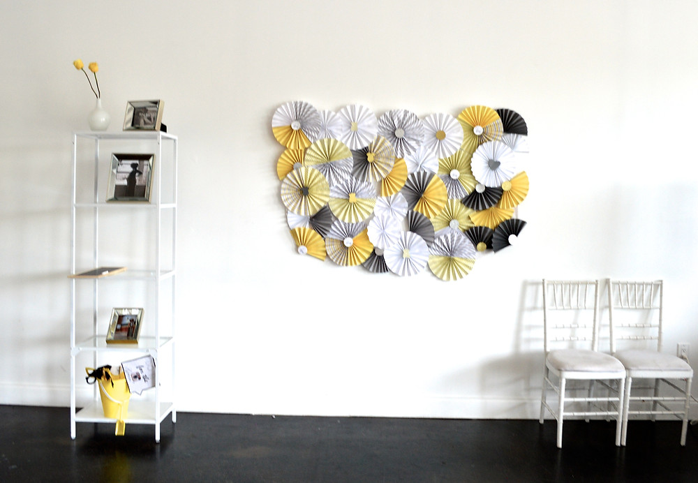 Chevron gray yellow and white baby shower DIY photo booth backdrop