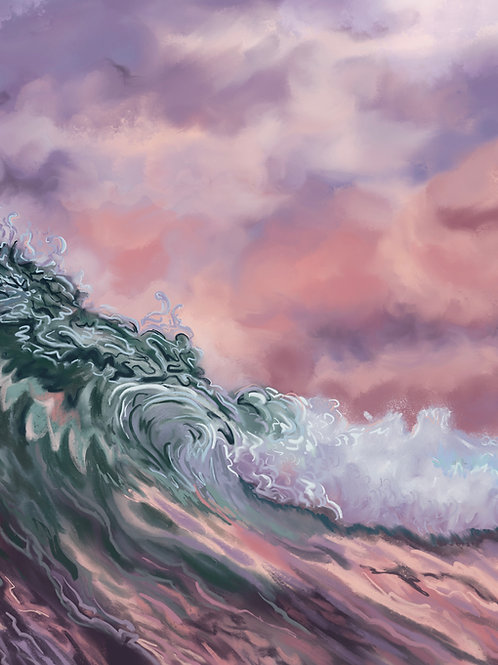 """Cotton Candy Seas (I)"" vertical canvas print"