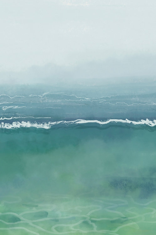 """Underwater: Mint and Misty"" vertical canvas print"
