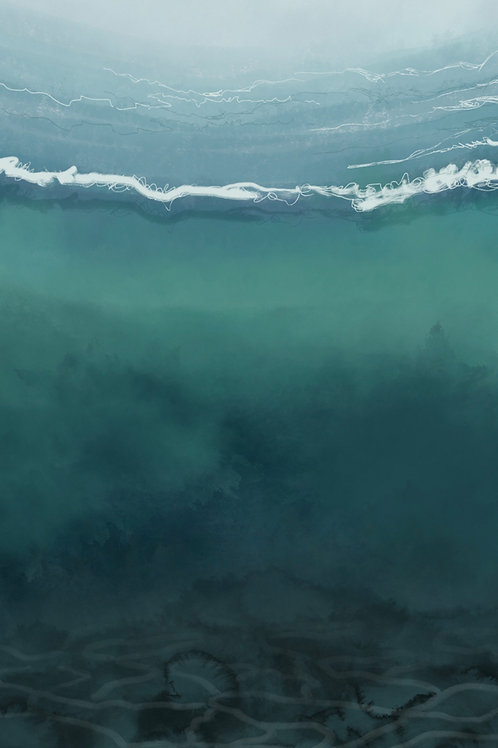 """""""Underwater: Teal and Stormy"""" vertical canvas print"""