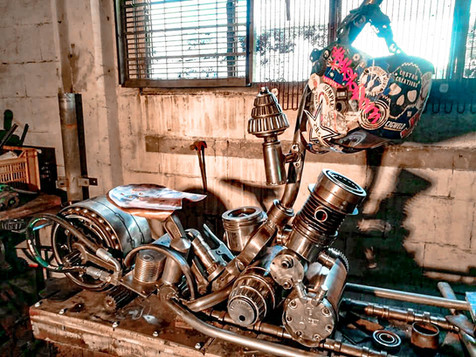 Deegan's Ride Motorbike Barefooted Welder Metal Art Sculpture Australia