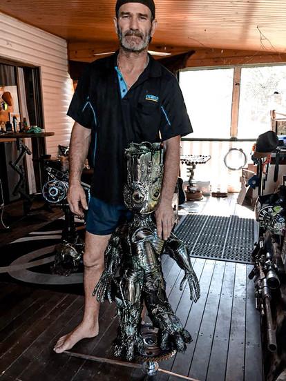 Groot Barefooted Welder Metal Art Sculpture Australia MickyD