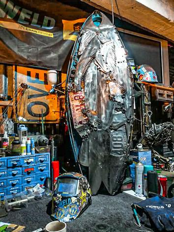 Junior the surfing turtle Barefooted Welder Metal Art Sculpture Australia