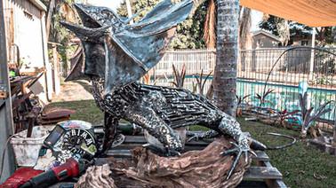 Blue the Frilled Lizard Barefooted Welder Metal Art Sculpture Australia