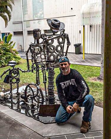 Walking Forward Library Ayr Barefooted Welder Metal Art Sculpture Australia