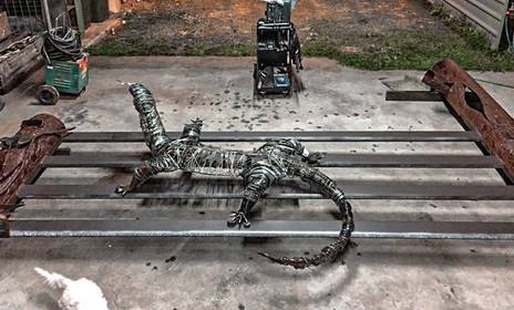 Monitor Dragon Gate Barefooted Welder Metal Art Sculpture Australia