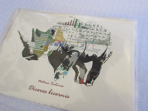 Black Rhinoceros - Natura Technica Blank Card and Envelope