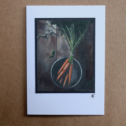 'Carrots' Hand Painted Greetings Card