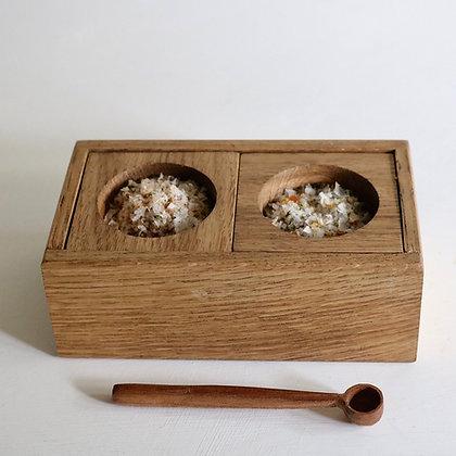 Pair of Pinch Pots in Oak with Oak Box