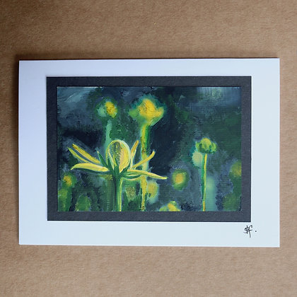 'Bright Green Seed Heads' Hand Painted Greetings Card