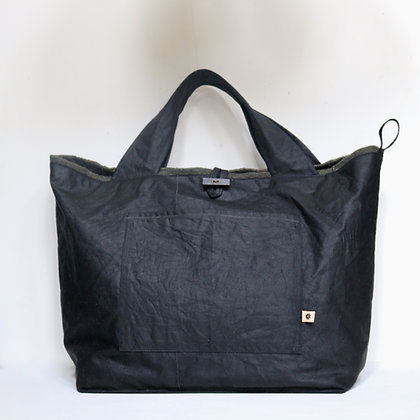 Wax Cotton Reversible Tote Bag with Linen Interior